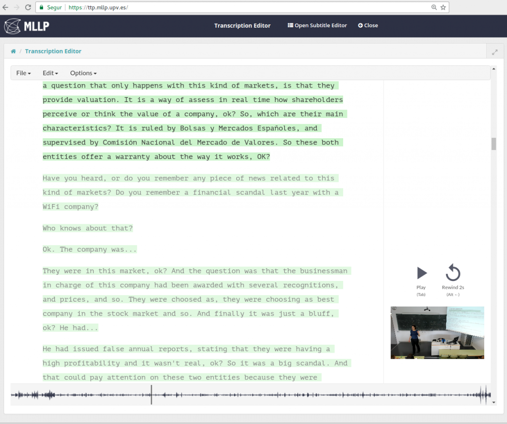 TLP Transcription Editor